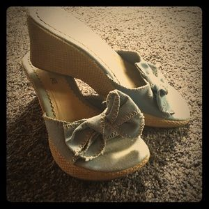 Denim Bow Wedge Sandals